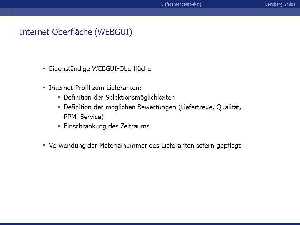 Bensberg GmbHLieferantenbeurteilung Internet-Oberfläche (WEBGUI) Eigenständige WEBGUI-Oberfläche Internet-Profil zum Lieferanten: Definition der Selek