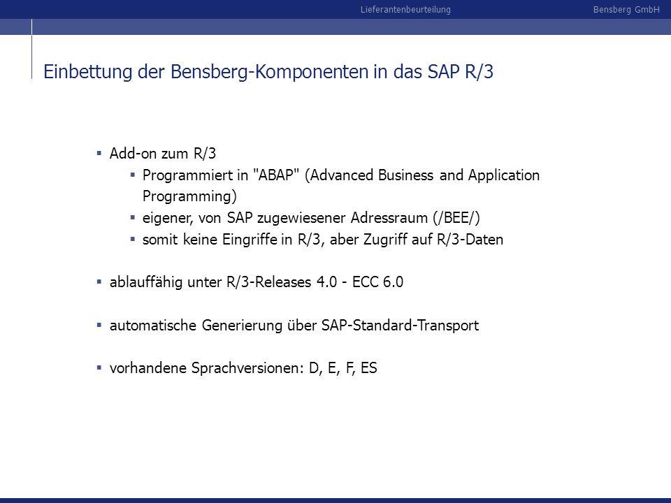 Bensberg GmbHLieferantenbeurteilung Einbettung der Bensberg-Komponenten in das SAP R/3 Add-on zum R/3 Programmiert in