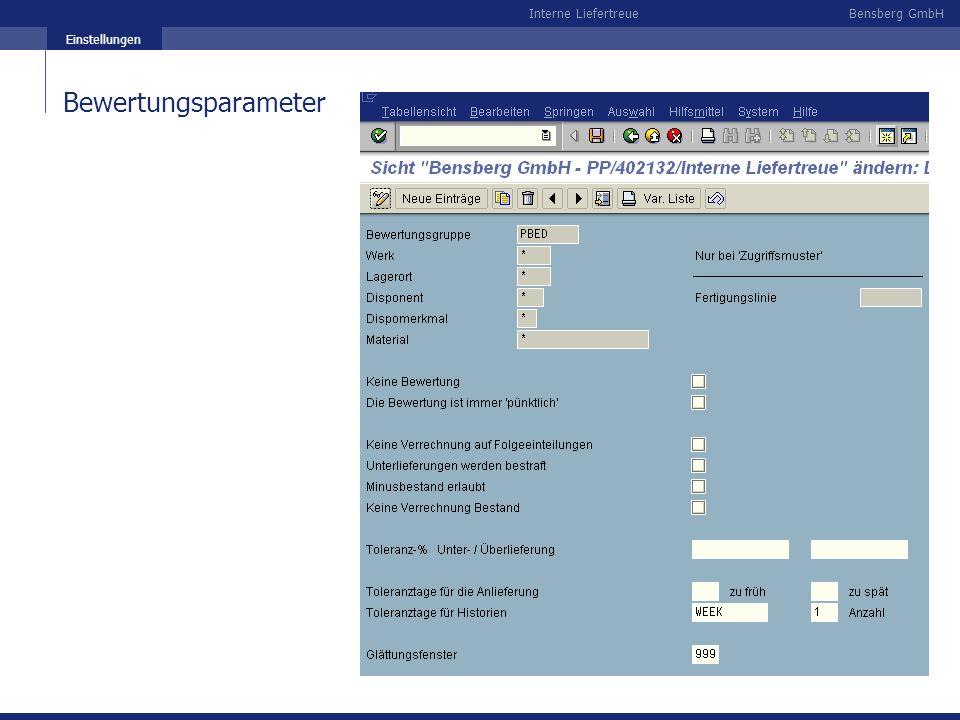 Bensberg GmbHInterne Liefertreue Einstellungen Bewertungsparameter