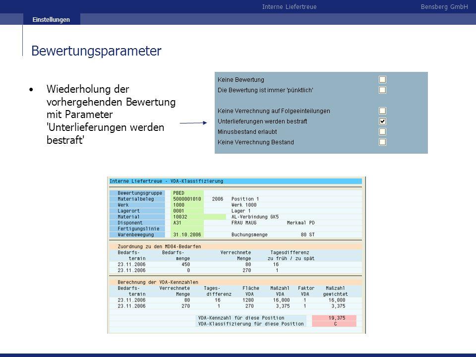 Bensberg GmbHInterne Liefertreue Einstellungen Bewertungsparameter Wiederholung der vorhergehenden Bewertung mit Parameter 'Unterlieferungen werden be