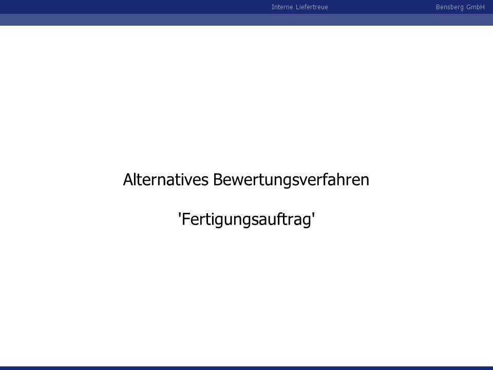 Bensberg GmbHInterne Liefertreue Alternatives Bewertungsverfahren 'Fertigungsauftrag'