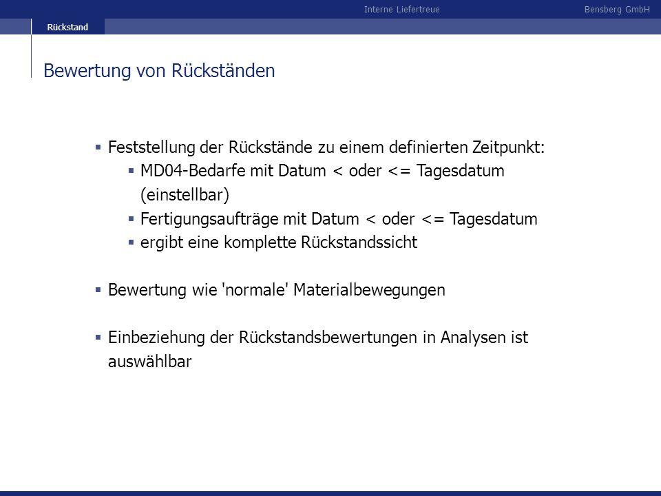 Bensberg GmbHInterne Liefertreue Bewertung von Rückständen Feststellung der Rückstände zu einem definierten Zeitpunkt: MD04-Bedarfe mit Datum < oder <