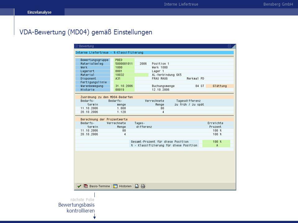 Bensberg GmbHInterne Liefertreue VDA-Bewertung (MD04) gemäß Einstellungen Bewertungsbasis kontrollieren nächste Folie Einzelanalyse