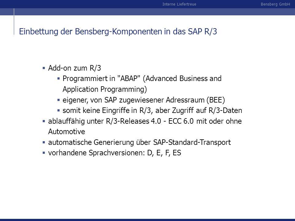 Bensberg GmbHInterne Liefertreue Einbettung der Bensberg-Komponenten in das SAP R/3 Add-on zum R/3 Programmiert in