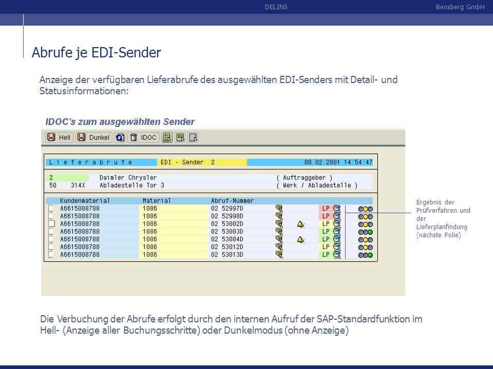 Bensberg GmbHDELINS Abrufe je EDI-Sender Anzeige der verfügbaren Lieferabrufe des ausgewählten EDI-Senders mit Detail- und Statusinformationen: Die Ve