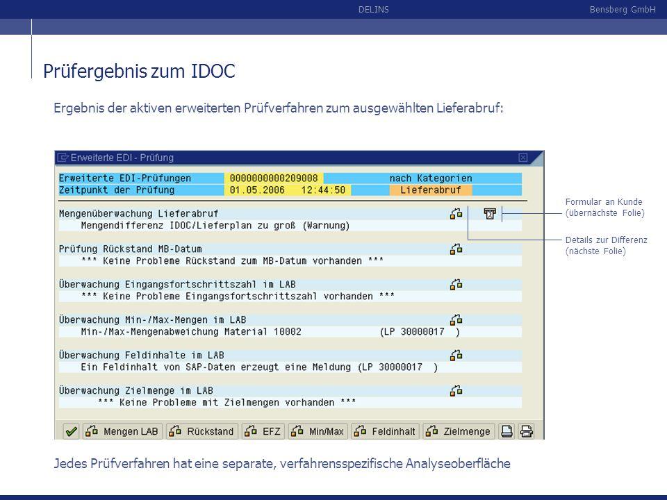 Bensberg GmbHDELINS Prüfergebnis zum IDOC Ergebnis der aktiven erweiterten Prüfverfahren zum ausgewählten Lieferabruf: Formular an Kunde (übernächste
