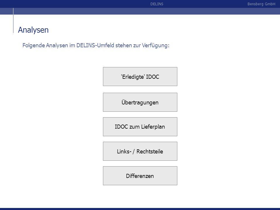 Bensberg GmbHDELINS Analysen IDOC zum Lieferplan 'Erledigte' IDOC Übertragungen Links- / Rechtsteile Differenzen Folgende Analysen im DELINS-Umfeld st