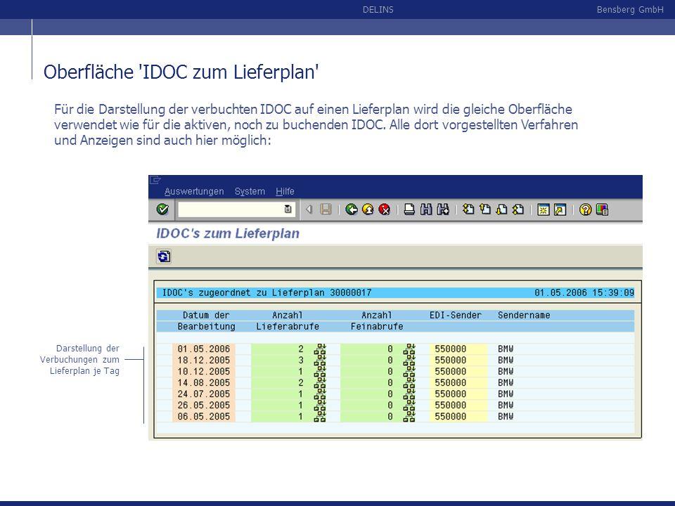 Bensberg GmbHDELINS Oberfläche 'IDOC zum Lieferplan' Darstellung der Verbuchungen zum Lieferplan je Tag Für die Darstellung der verbuchten IDOC auf ei
