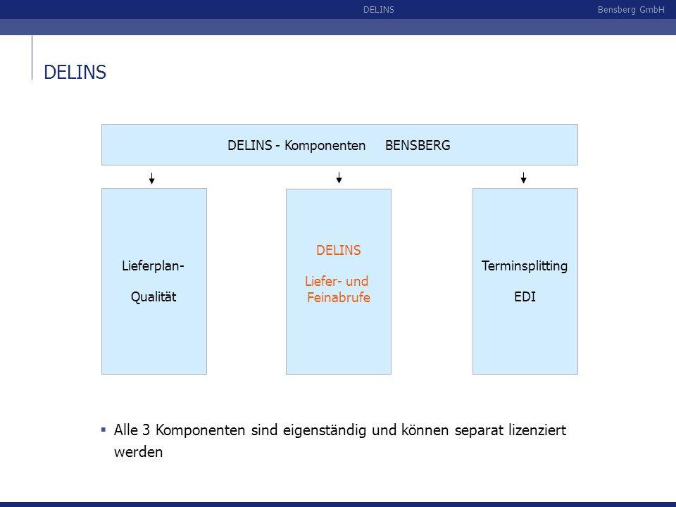 Bensberg GmbHDELINS Abrufe je EDI-Sender Anzeige der verfügbaren Lieferabrufe des ausgewählten EDI-Senders mit Detail- und Statusinformationen: Die Verbuchung der Abrufe erfolgt durch den internen Aufruf der SAP-Standardfunktion im Hell- (Anzeige aller Buchungsschritte) oder Dunkelmodus (ohne Anzeige) Ergebnis der Prüfverfahren und der Lieferplanfindung (nächste Folie)