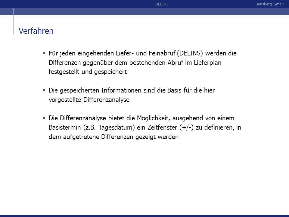 Bensberg GmbHDELINS Verfahren Für jeden eingehenden Liefer- und Feinabruf (DELINS) werden die Differenzen gegenüber dem bestehenden Abruf im Lieferpla