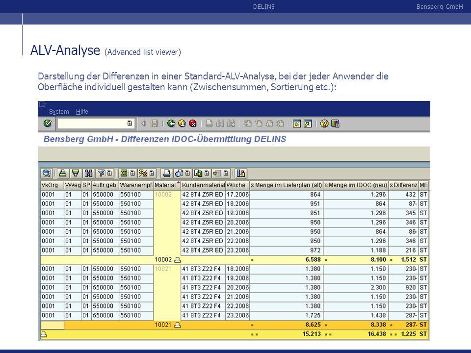 Bensberg GmbHDELINS ALV-Analyse (Advanced list viewer) Darstellung der Differenzen in einer Standard-ALV-Analyse, bei der jeder Anwender die Oberfläch