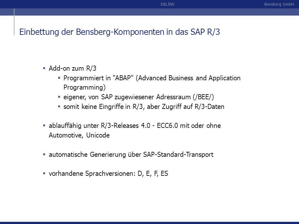 Bensberg GmbHDELINS Einbettung der Bensberg-Komponenten in das SAP R/3 Add-on zum R/3 Programmiert in