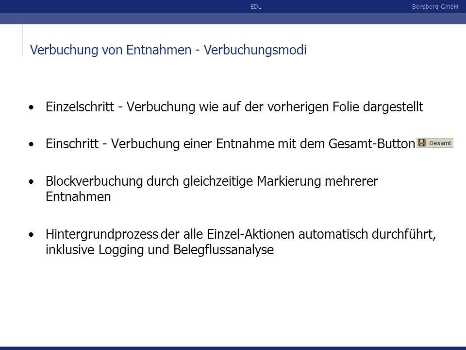 Bensberg GmbHEDL Verbuchung von Entnahmen - Verbuchungsmodi Einzelschritt - Verbuchung wie auf der vorherigen Folie dargestellt Einschritt - Verbuchun