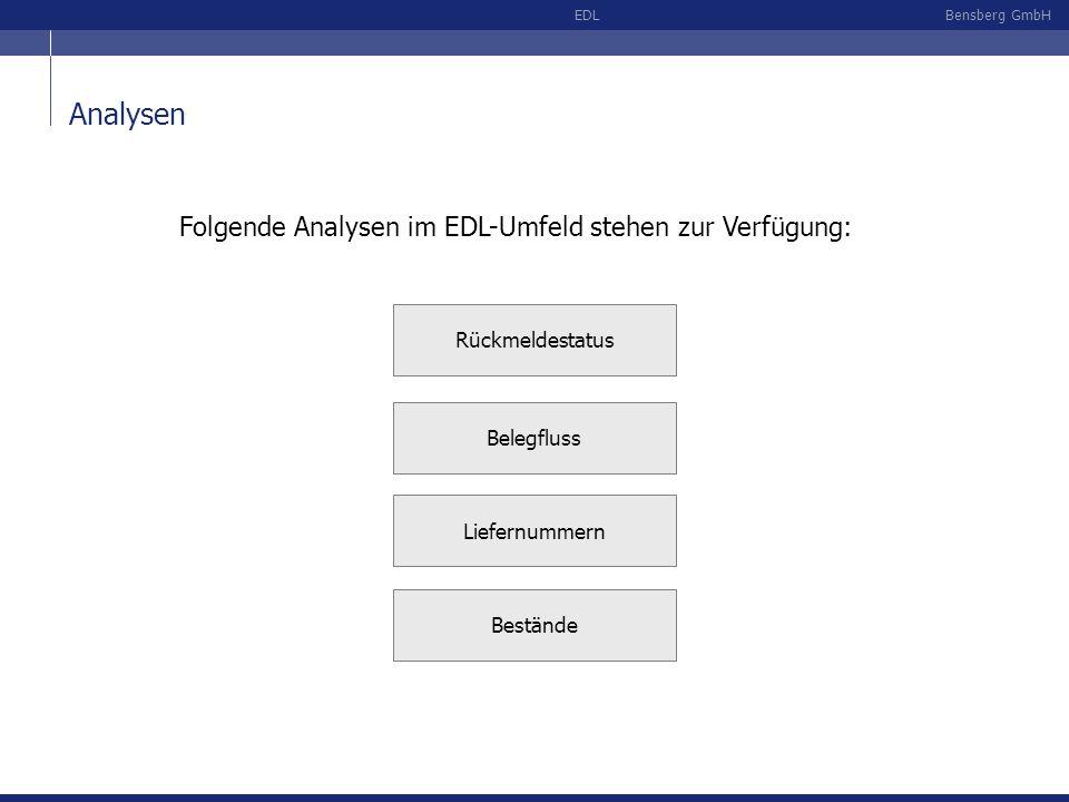 Bensberg GmbHEDL Analysen Folgende Analysen im EDL-Umfeld stehen zur Verfügung: Liefernummern Rückmeldestatus Belegfluss Bestände