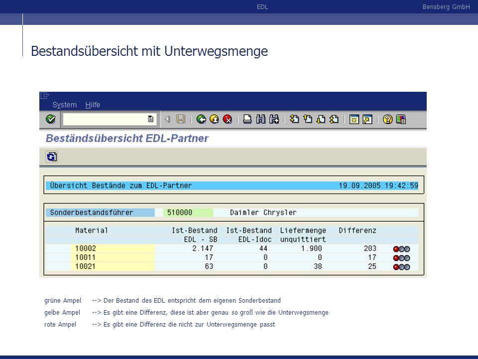 Bensberg GmbHEDL Bestandsübersicht mit Unterwegsmenge grüne Ampel--> Der Bestand des EDL entspricht dem eigenen Sonderbestand gelbe Ampel--> Es gibt e