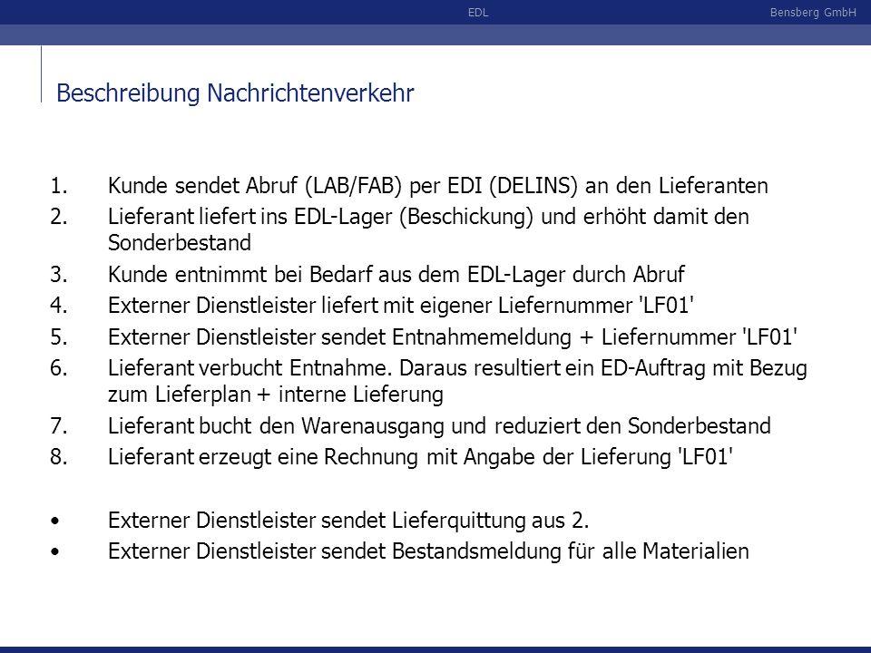 Bensberg GmbHEDL Beschreibung Nachrichtenverkehr 1.Kunde sendet Abruf (LAB/FAB) per EDI (DELINS) an den Lieferanten 2.Lieferant liefert ins EDL-Lager (Beschickung) und erhöht damit den Sonderbestand 3.Kunde entnimmt bei Bedarf aus dem EDL-Lager durch Abruf 4.Externer Dienstleister liefert mit eigener Liefernummer LF01 5.Externer Dienstleister sendet Entnahmemeldung + Liefernummer LF01 6.Lieferant verbucht Entnahme.