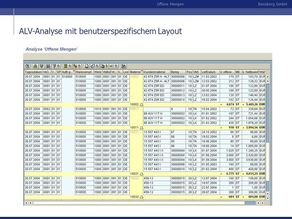 Bensberg GmbHOffene Mengen ALV-Analyse mit benutzerspezifischem Layout