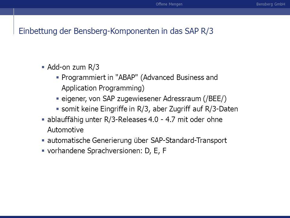 Bensberg GmbHOffene Mengen Add-on zum R/3 Programmiert in