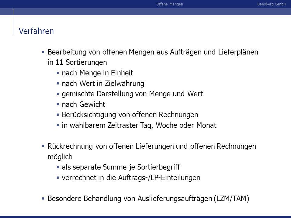 Bensberg GmbHOffene Mengen Verfahren Bearbeitung von offenen Mengen aus Aufträgen und Lieferplänen in 11 Sortierungen nach Menge in Einheit nach Wert