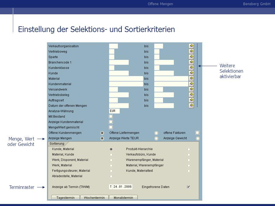 Bensberg GmbHOffene Mengen Monate ab Mai 2004, offenen Lieferungen und Rechnungen als eigenständige Summe Sortierung beteiligte Einteilungen 20 Termin- spalten (scrollbar) offene Lieferungen/ Rechnungen Beispiel : Offene Mengen nach Kunde und Material