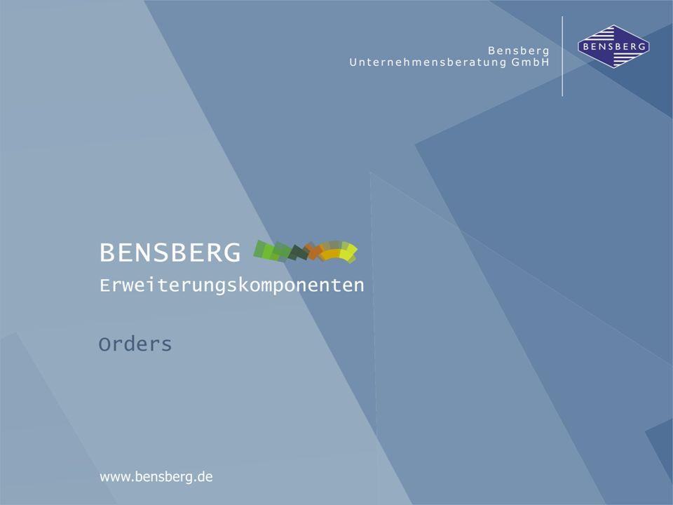 Bensberg GmbHOrders Nachlaufroutinen Nachlaufroutinen zur Anpassung/Erweiterung der Aufträge nach der Verbuchung ORDERSAuftrag DELORDTAM / LZM ORDCHGAuftrag Kundenauftrag per EDI (IDOC) EDI-Konverter R/3 im Standard Nachlaufroutinen Bensberg