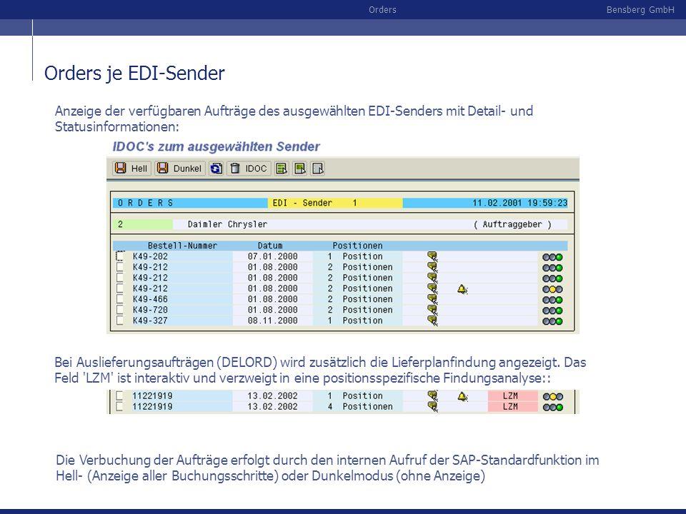 Bensberg GmbHOrders Orders je EDI-Sender Anzeige der verfügbaren Aufträge des ausgewählten EDI-Senders mit Detail- und Statusinformationen: Die Verbuc