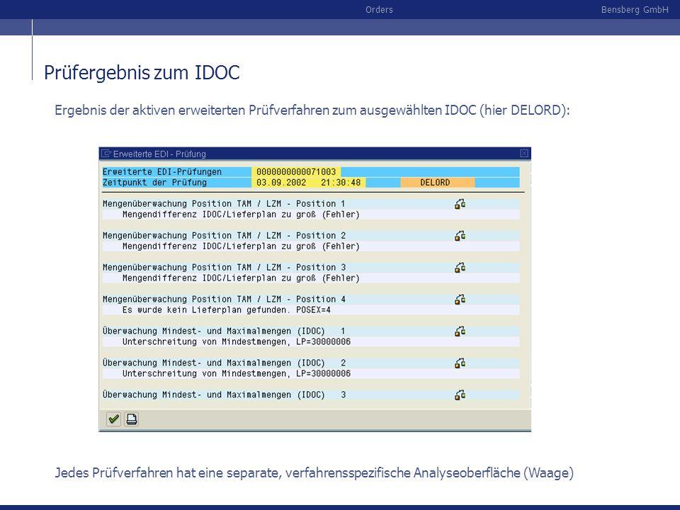 Bensberg GmbHOrders Prüfergebnis zum IDOC Ergebnis der aktiven erweiterten Prüfverfahren zum ausgewählten IDOC (hier DELORD): Jedes Prüfverfahren hat