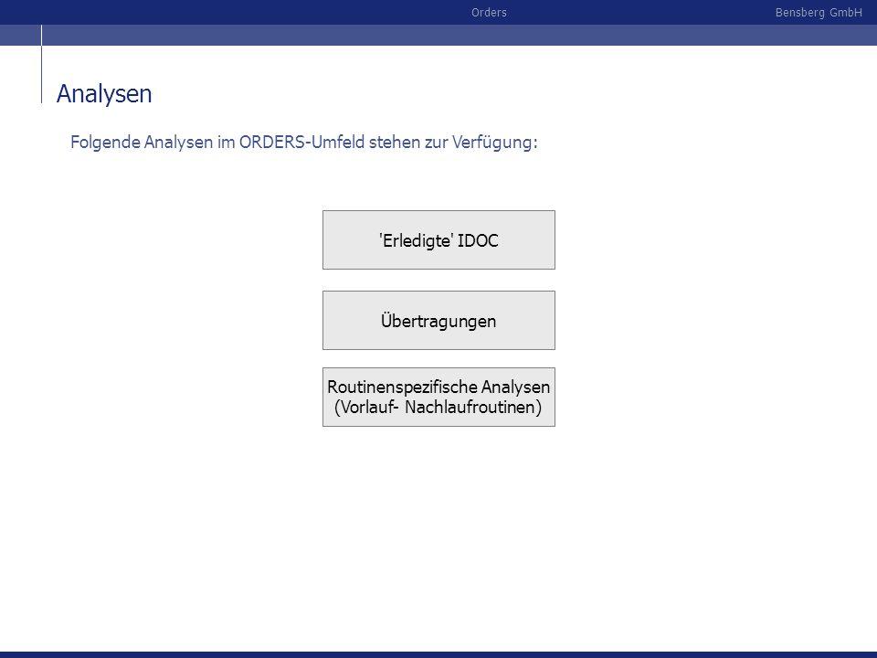 Bensberg GmbHOrders Analysen Routinenspezifische Analysen (Vorlauf- Nachlaufroutinen) 'Erledigte' IDOC Übertragungen Folgende Analysen im ORDERS-Umfel