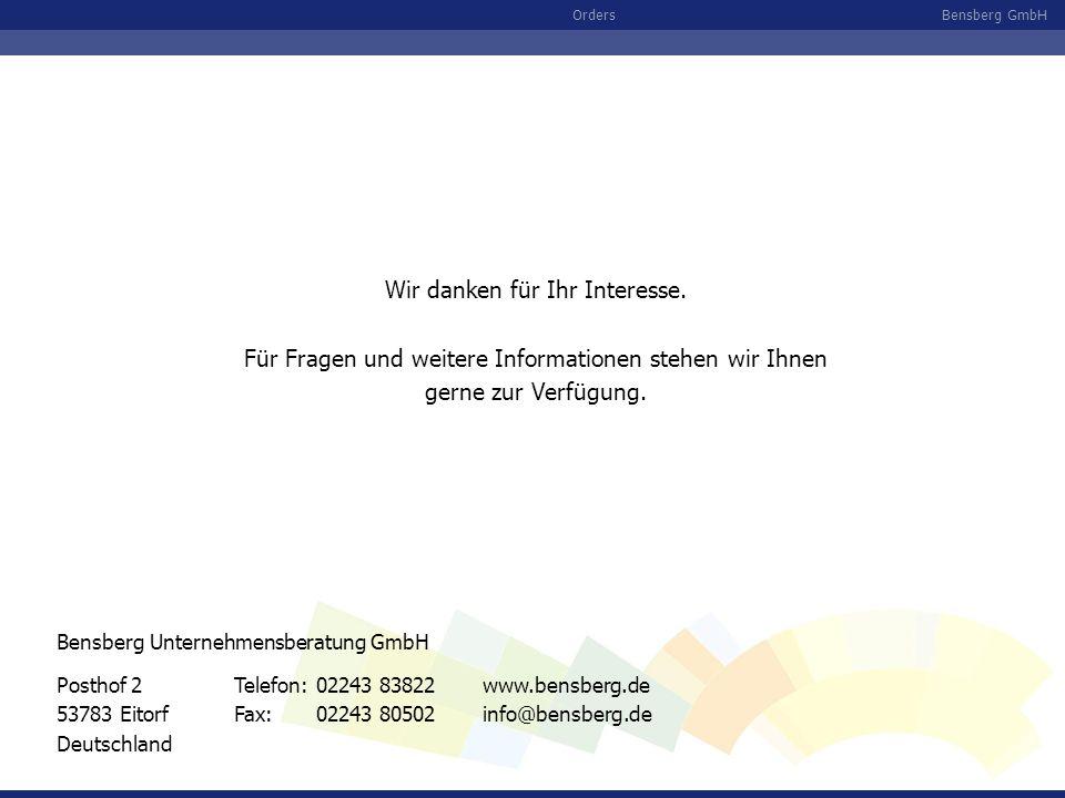 Bensberg GmbHOrders Wir danken für Ihr Interesse. Für Fragen und weitere Informationen stehen wir Ihnen gerne zur Verfügung. Posthof 2 53783 Eitorf De