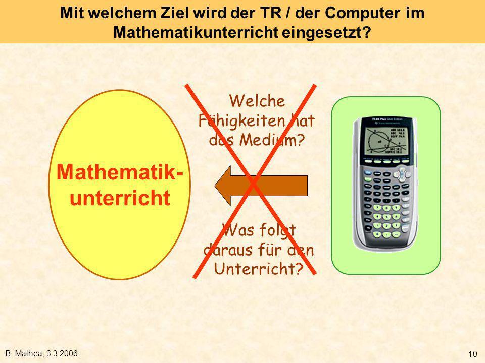 B. Mathea, 3.3.2006 10 Mit welchem Ziel wird der TR / der Computer im Mathematikunterricht eingesetzt? Mathematik- unterricht Welche Fähigkeiten hat d