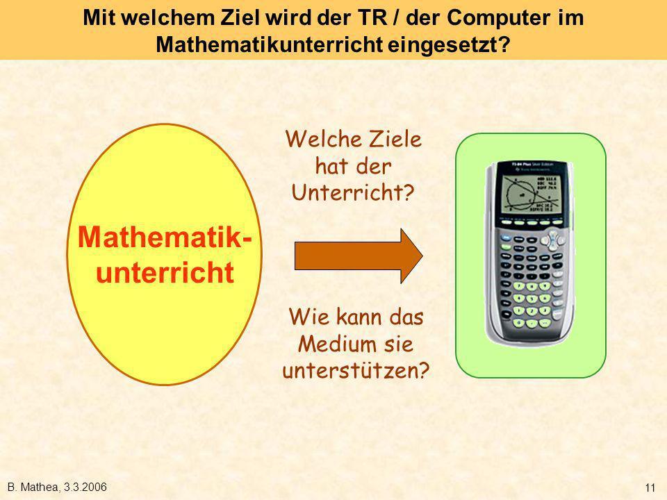 B. Mathea, 3.3.2006 11 Mit welchem Ziel wird der TR / der Computer im Mathematikunterricht eingesetzt? Mathematik- unterricht Welche Ziele hat der Unt