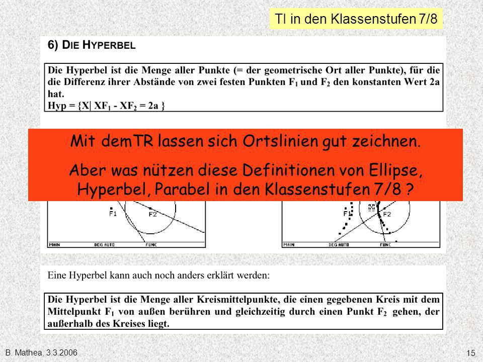 B. Mathea, 3.3.2006 15 TI in den Klassenstufen 7/8 Mit demTR lassen sich Ortslinien gut zeichnen. Aber was nützen diese Definitionen von Ellipse, Hype