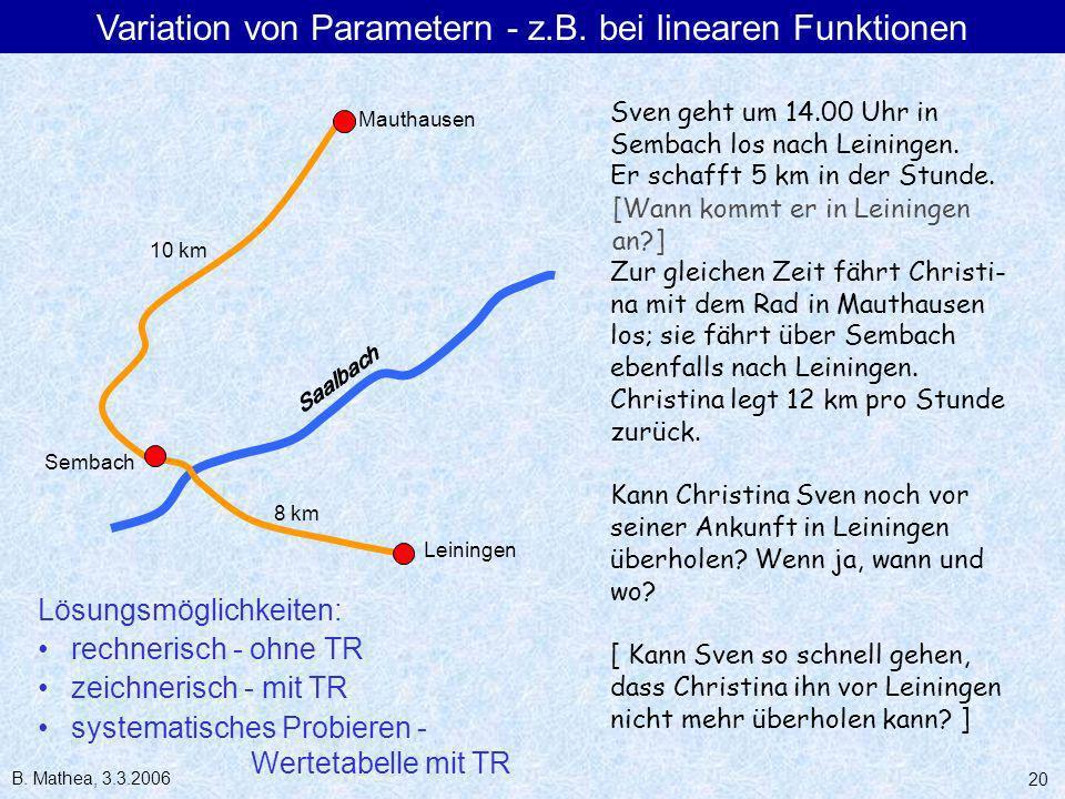 B. Mathea, 3.3.2006 20 Sven geht um 14.00 Uhr in Sembach los nach Leiningen. Er schafft 5 km in der Stunde. Zur gleichen Zeit fährt Christi- na mit de