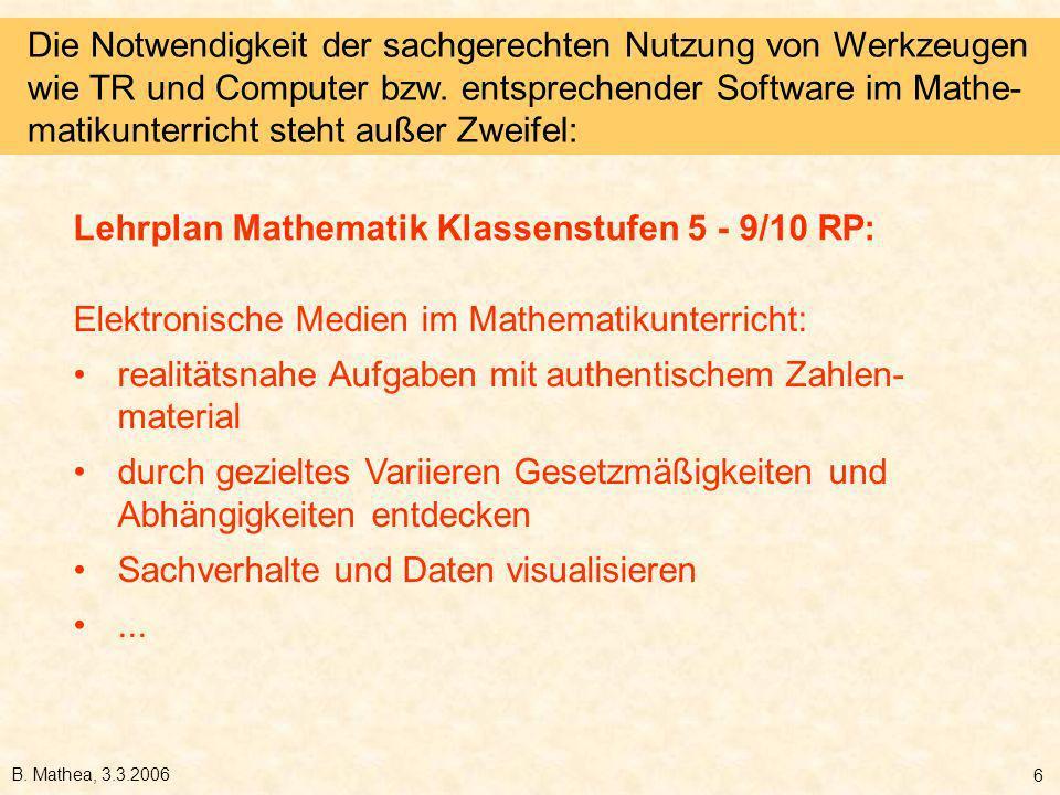B. Mathea, 3.3.2006 6 Elektronische Medien im Mathematikunterricht: realitätsnahe Aufgaben mit authentischem Zahlen- material durch gezieltes Variiere