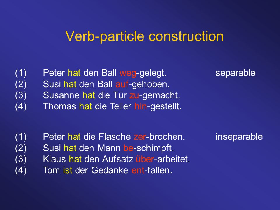 Verb-particle construction (1)Peter hat den Ball weg-gelegt.