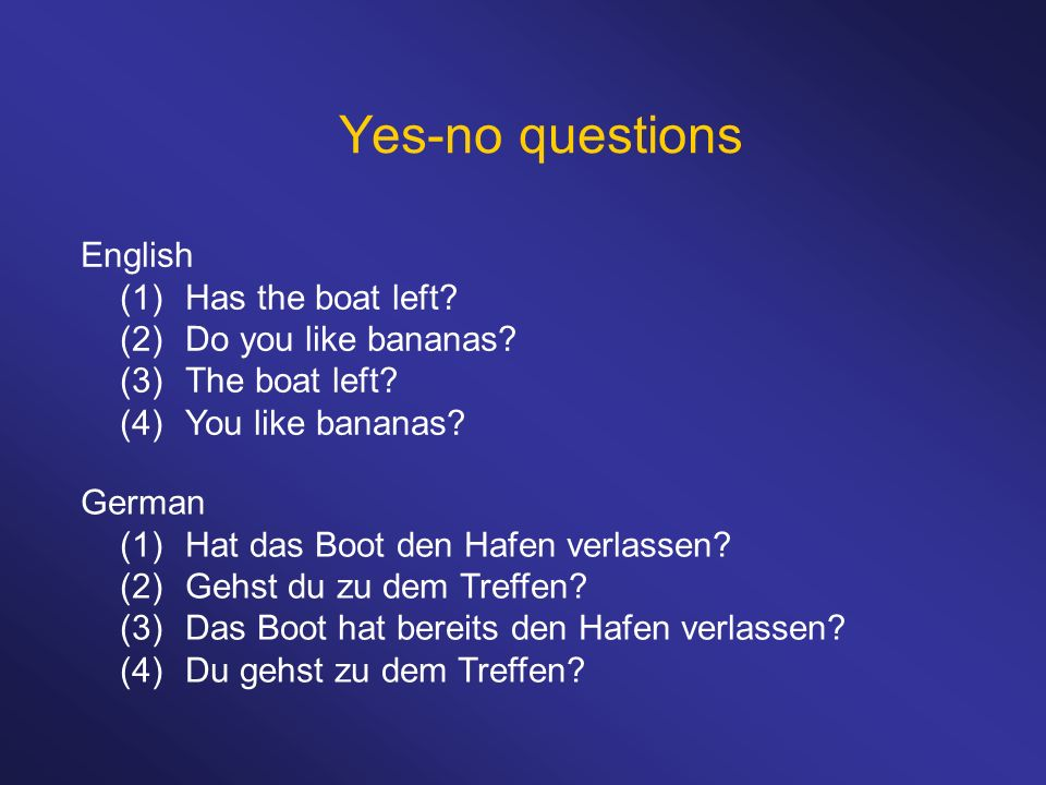 Yes-no questions English (1)Has the boat left. (2)Do you like bananas.