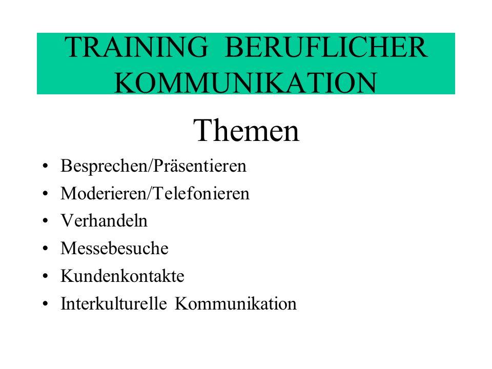 TRAINING BERUFLICHER KOMMUNIKATION Themen: Bedarfsermittlung ERFA: Agrippina, Audi, DaimlerChrysler, Degussa, Michelin, Siemens, Telekom,u.a.