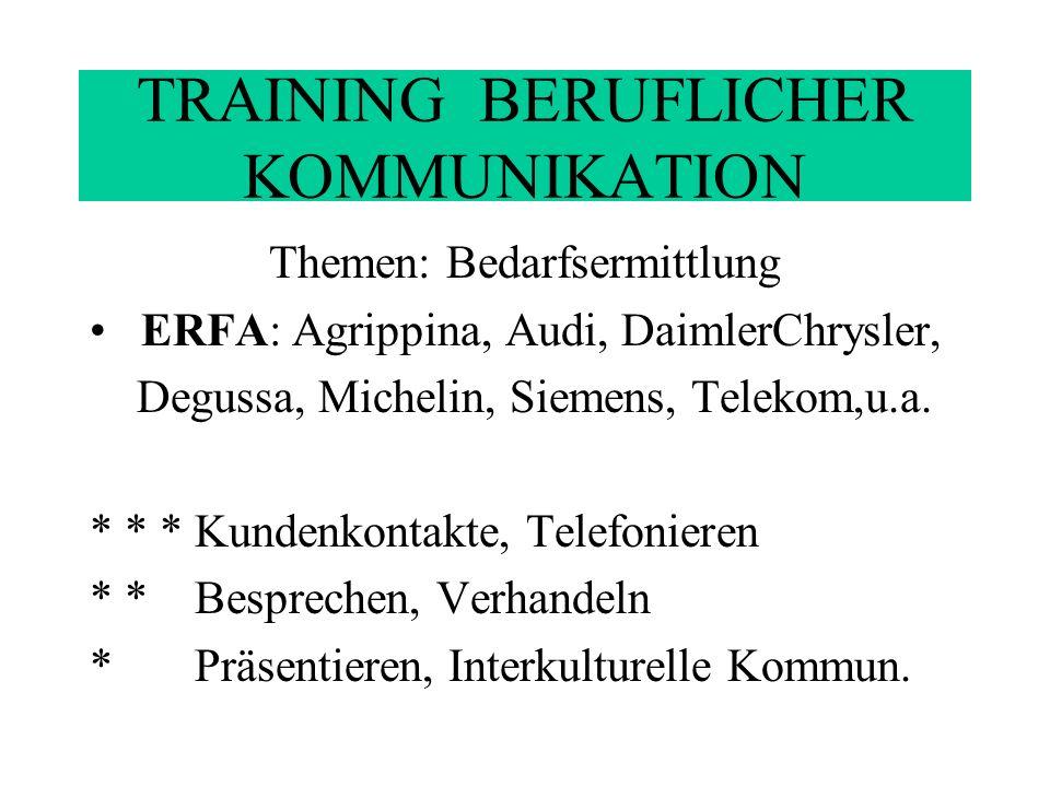 TRAINING BERUFLICHER KOMMUNIKATION Zielgruppe Teilnehmer(innen) von Kompaktkursen zu wichtigen beruflichen Kommunikationsstrategien Fortbildungsseminaren z.B.