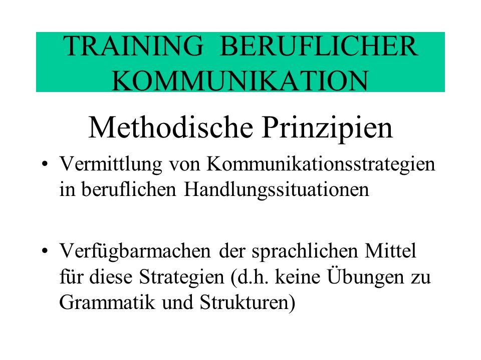 TRAINING BERUFLICHER KOMMUNIKATION Methodische Prinzipien Vermittlung von Hintergrundwissen zu diesen Strategien (einschl.
