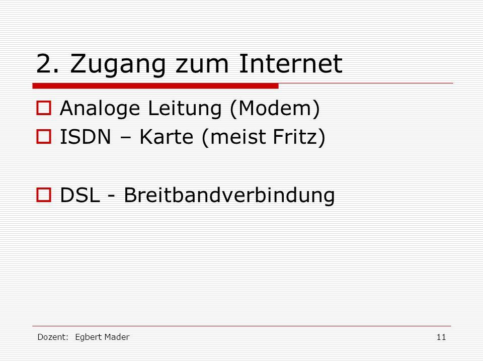 Dozent: Egbert Mader11 2. Zugang zum Internet Analoge Leitung (Modem) ISDN – Karte (meist Fritz) DSL - Breitbandverbindung