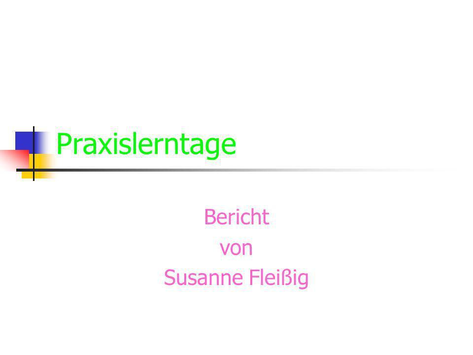 Praxislerntage Bericht von Susanne Fleißig