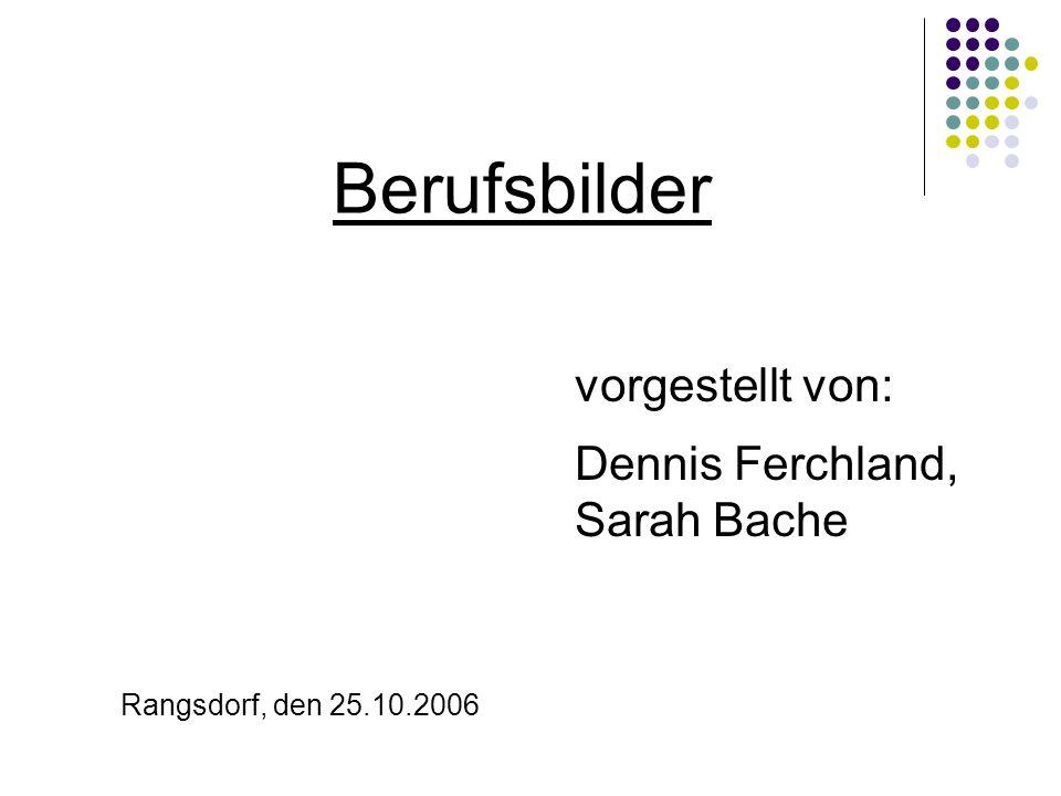 Berufsbilder vorgestellt von: Dennis Ferchland, Sarah Bache Rangsdorf, den 25.10.2006