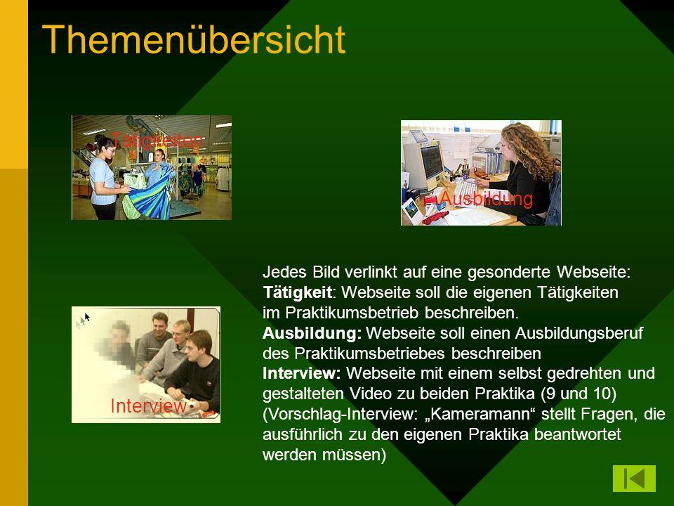 Themenübersicht Tätigkeiten Ausbildung Interview Jedes Bild verlinkt auf eine gesonderte Webseite: Tätigkeit: Webseite soll die eigenen Tätigkeiten im