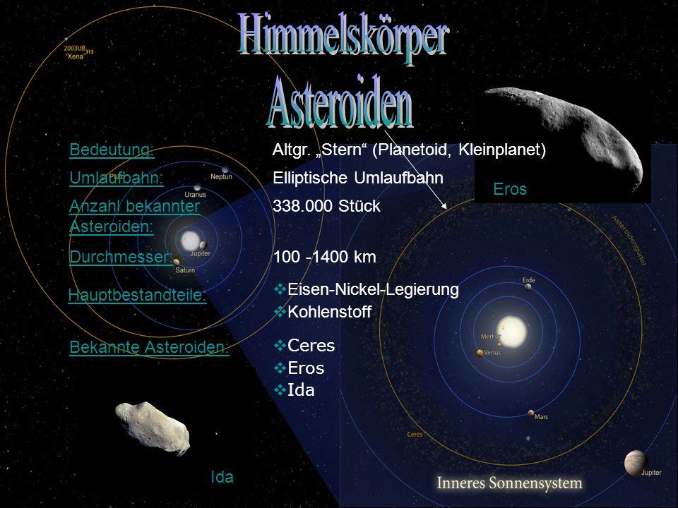 Ida Eros Bedeutung: Altgr. Stern (Planetoid, Kleinplanet) Anzahl bekannter Asteroiden: 338.000 Stück Bekannte Asteroiden: Ceres Eros Ida Umlaufbahn: E