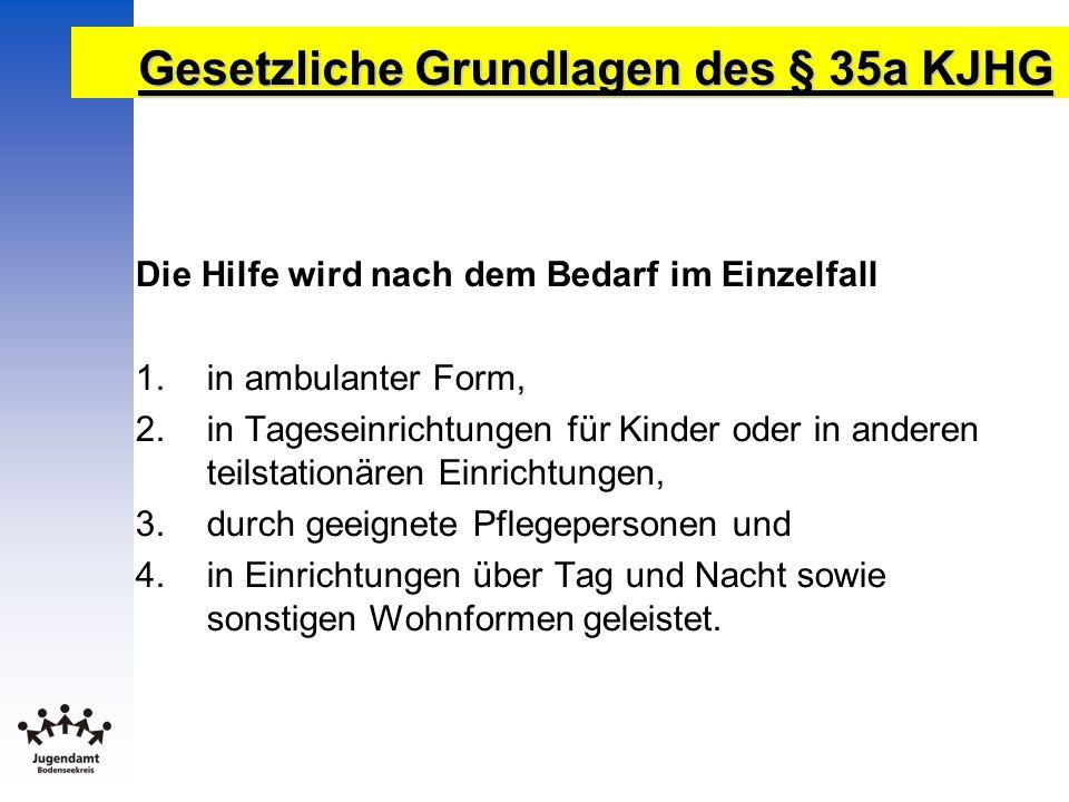 Gesetzliche Grundlagen des § 35a KJHG Die Hilfe wird nach dem Bedarf im Einzelfall 1.in ambulanter Form, 2.in Tageseinrichtungen für Kinder oder in an