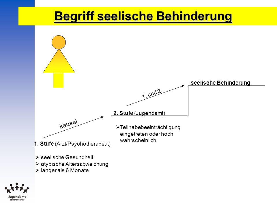 Begriff seelische Behinderung 1. Stufe (Arzt/Psychotherapeut) 2. Stufe (Jugendamt) seelische Behinderung seelische Gesundheit atypische Altersabweichu