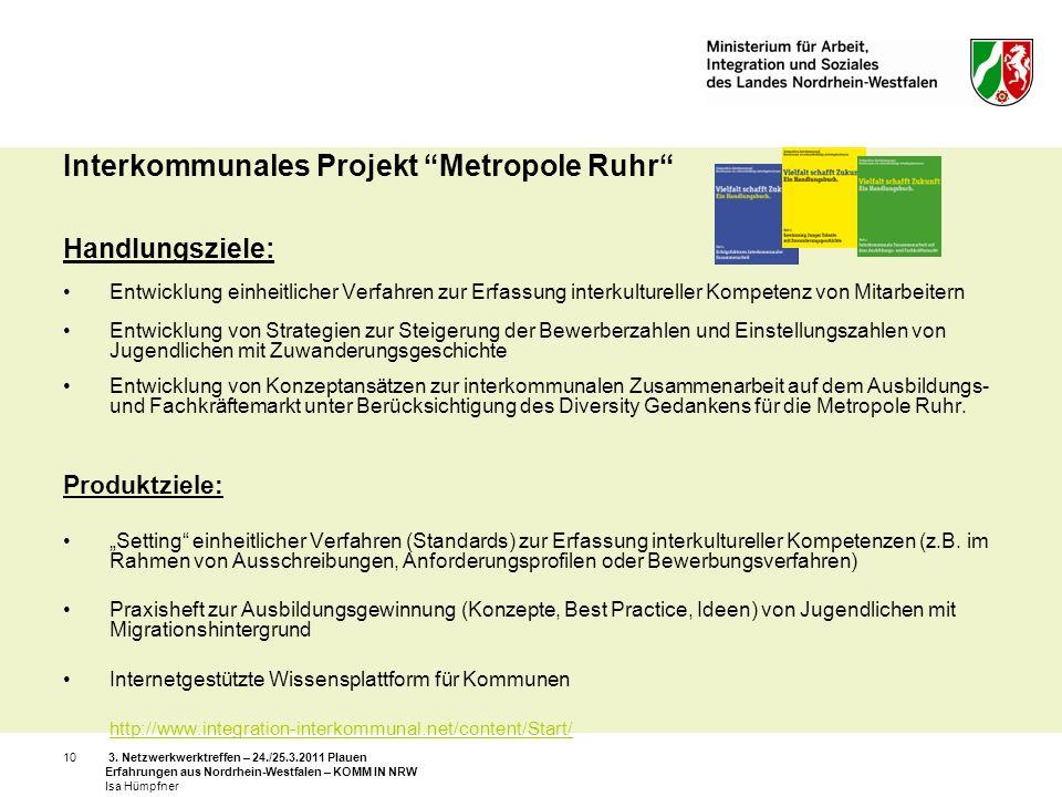 3. Netzwerkwerktreffen – 24./25.3.2011 Plauen Erfahrungen aus Nordrhein-Westfalen – KOMM IN NRW Isa Hümpfner 10 Interkommunales Projekt Metropole Ruhr