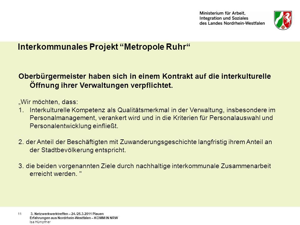 3. Netzwerkwerktreffen – 24./25.3.2011 Plauen Erfahrungen aus Nordrhein-Westfalen – KOMM IN NRW Isa Hümpfner 11 Interkommunales Projekt Metropole Ruhr
