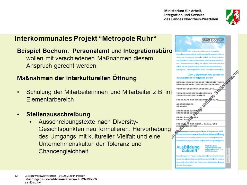 3. Netzwerkwerktreffen – 24./25.3.2011 Plauen Erfahrungen aus Nordrhein-Westfalen – KOMM IN NRW Isa Hümpfner 12 Interkommunales Projekt Metropole Ruhr