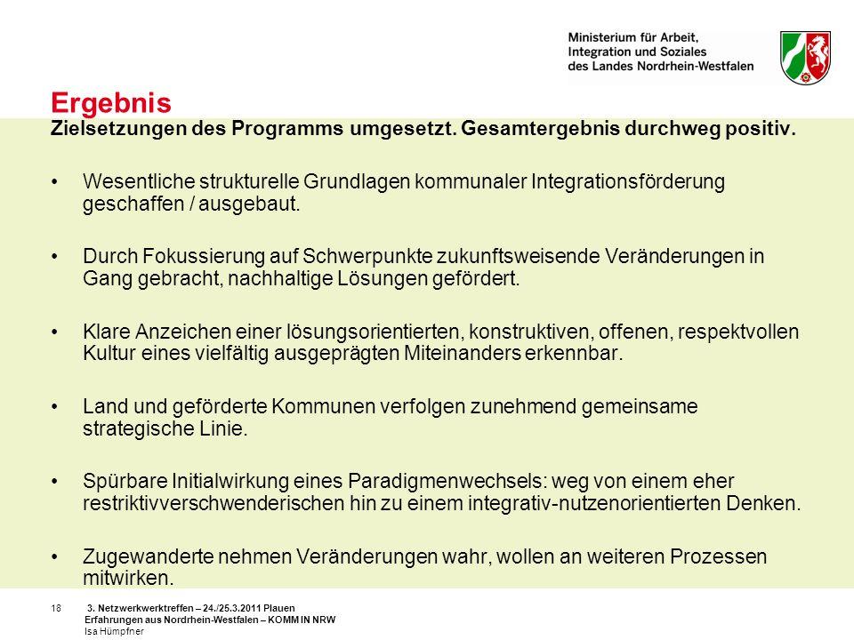 3. Netzwerkwerktreffen – 24./25.3.2011 Plauen Erfahrungen aus Nordrhein-Westfalen – KOMM IN NRW Isa Hümpfner 18 Ergebnis Zielsetzungen des Programms u